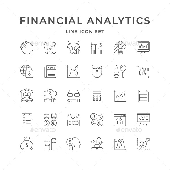 Set Line Icons of Financial Analytics - Man-made objects Objects
