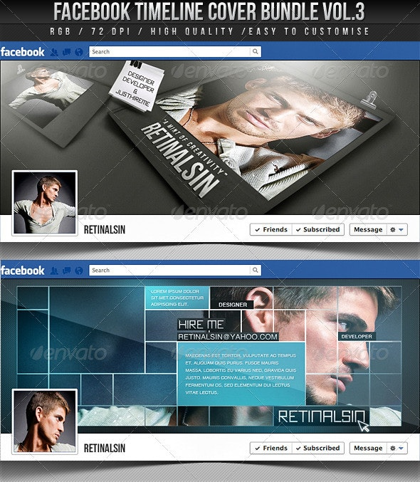 Facebook Timeline Cover Bundle Vol.3 - Facebook Timeline Covers Social Media