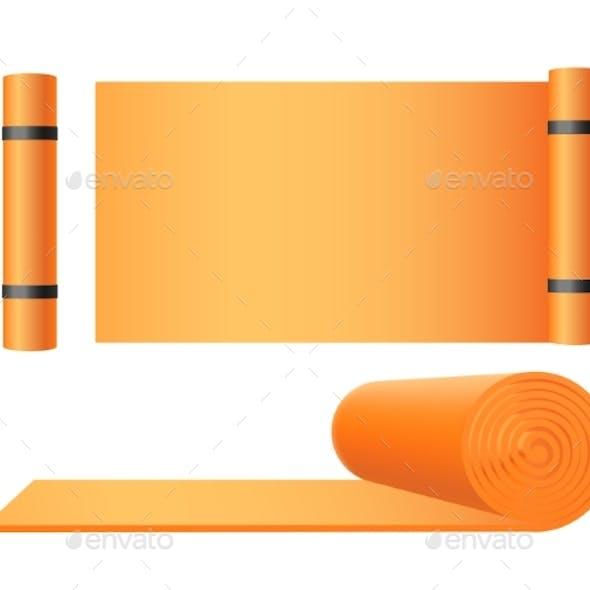 Yoga Exercise Mat Templates Set Realistic Vector