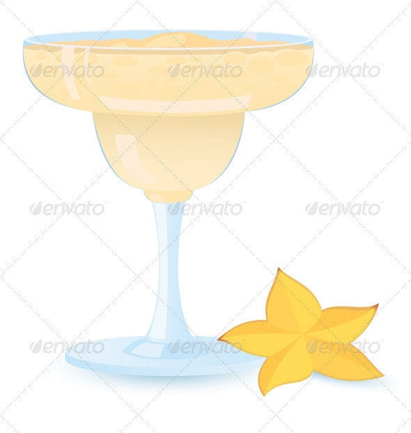 Creamy  cocktail  with star fruit - Food Objects
