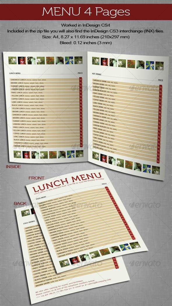 Menu 4 Pages - Food Menus Print Templates