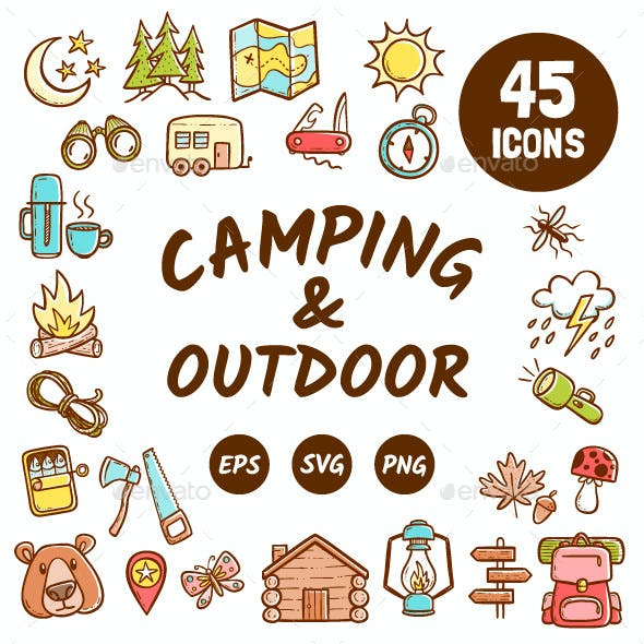 Colorful Camping and Outdoor activities