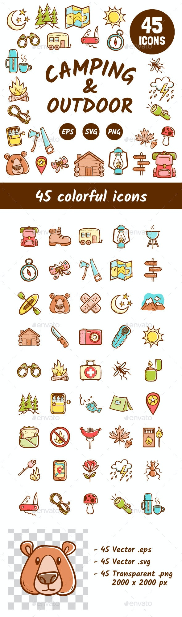 Colorful Camping and Outdoor activities - Seasonal Icons
