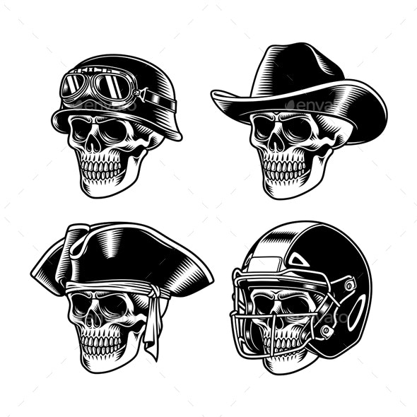Skull Characters Collection Vector Illustration - Miscellaneous Characters