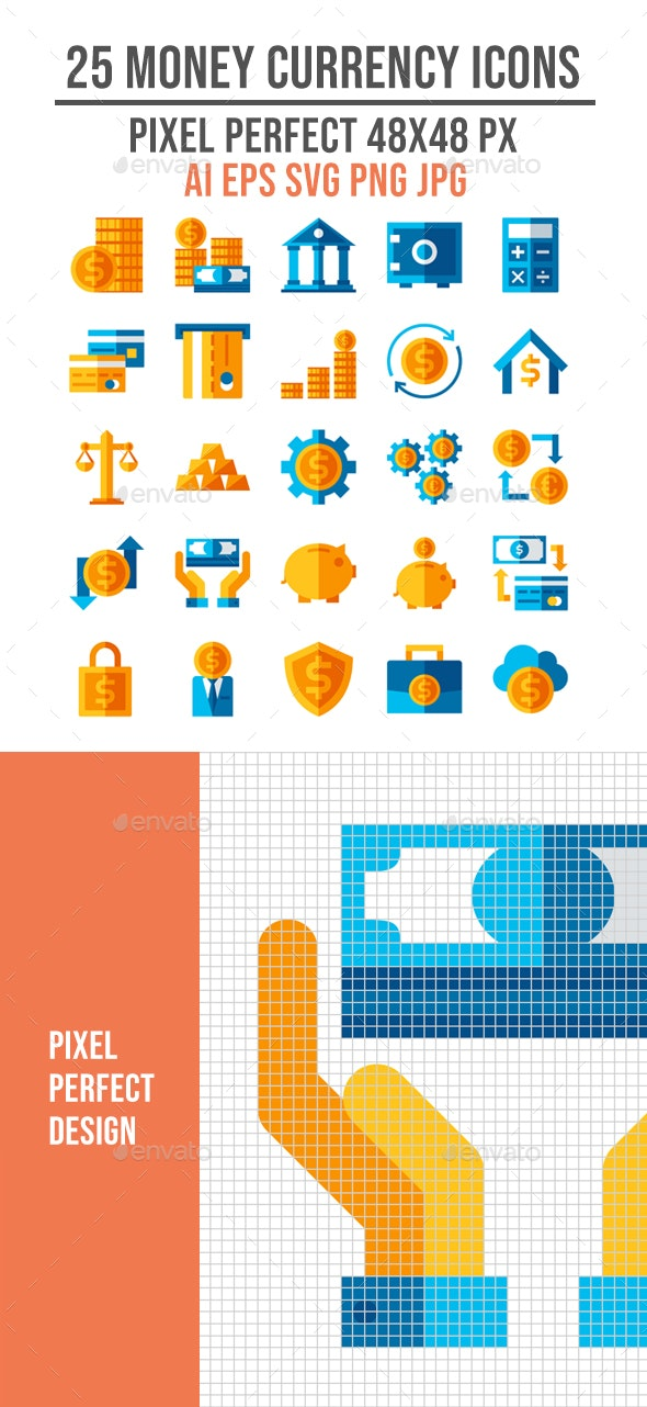 25 Buisness Money Currency Flat Icons - Business Icons