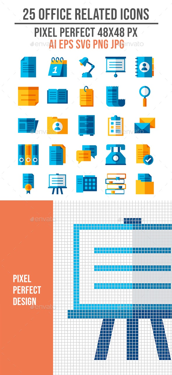 25 Business Office Related Flat Icon Set - Business Icons