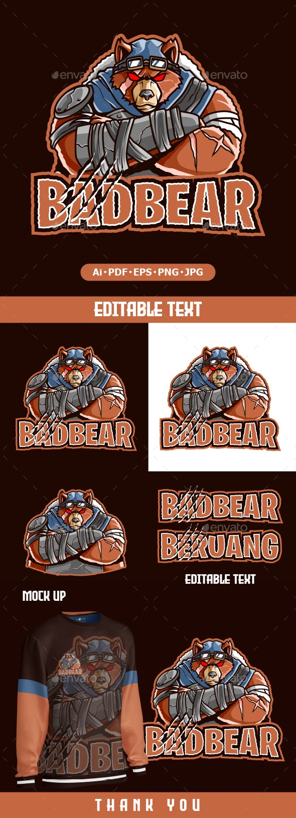 Bear cartoon Mascot logo - Animals Logo Templates