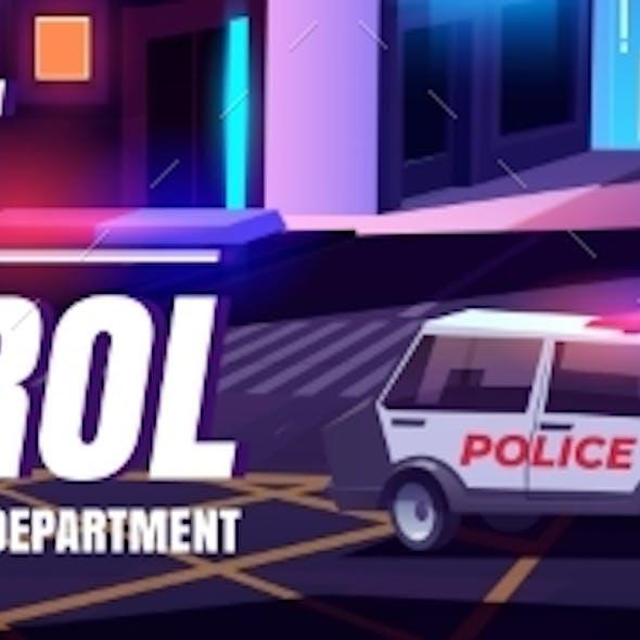 Night Patrol Cartoon Web Banner with Police Car