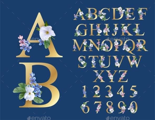 Floral Alphabet Font - Abstract Conceptual