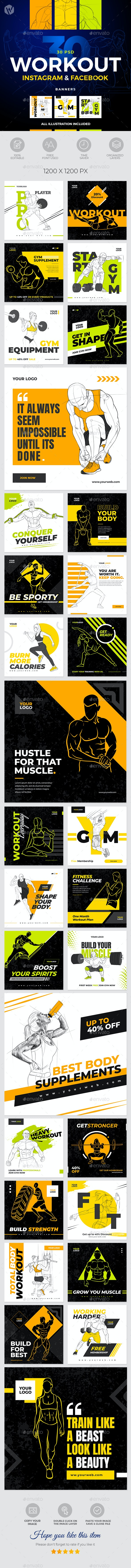 30 Instagram & Facebook Fitness GYM Workout Banners - Social Media Web Elements