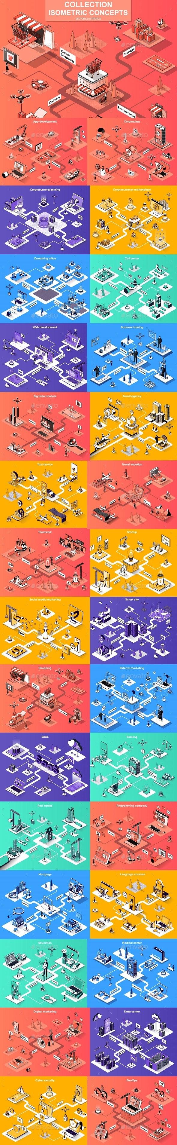 Isometric 3D Vector Illustration Pack - Web Elements Vectors