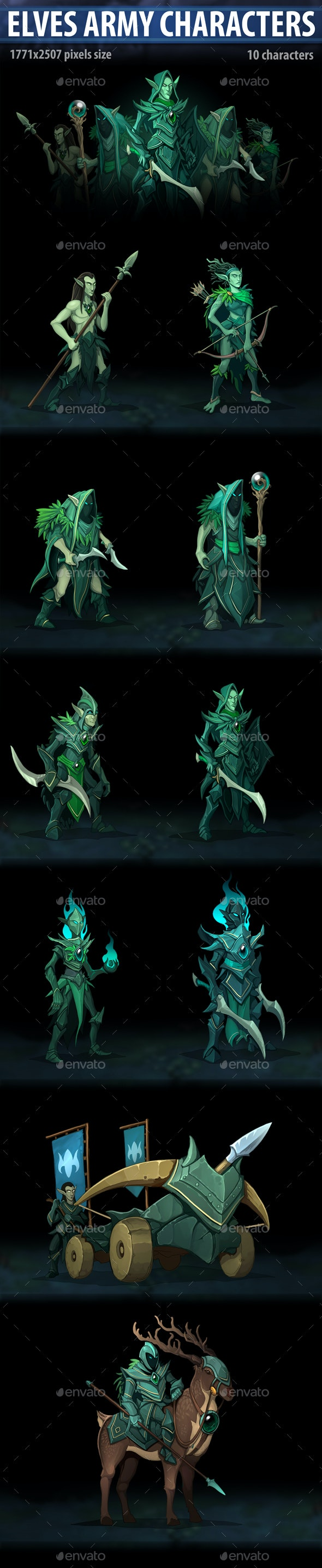 Elves Army Characters - Miscellaneous Game Assets