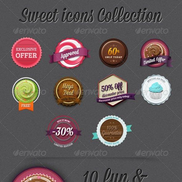 10 Editable Photoshop Sweet and Retro Badges