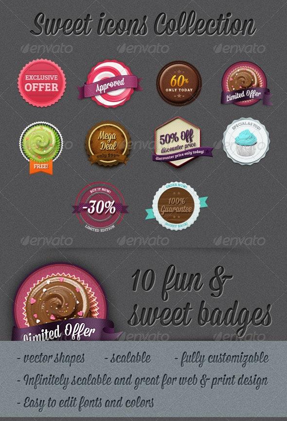 10 Editable Photoshop Sweet and Retro Badges - Badges & Stickers Web Elements