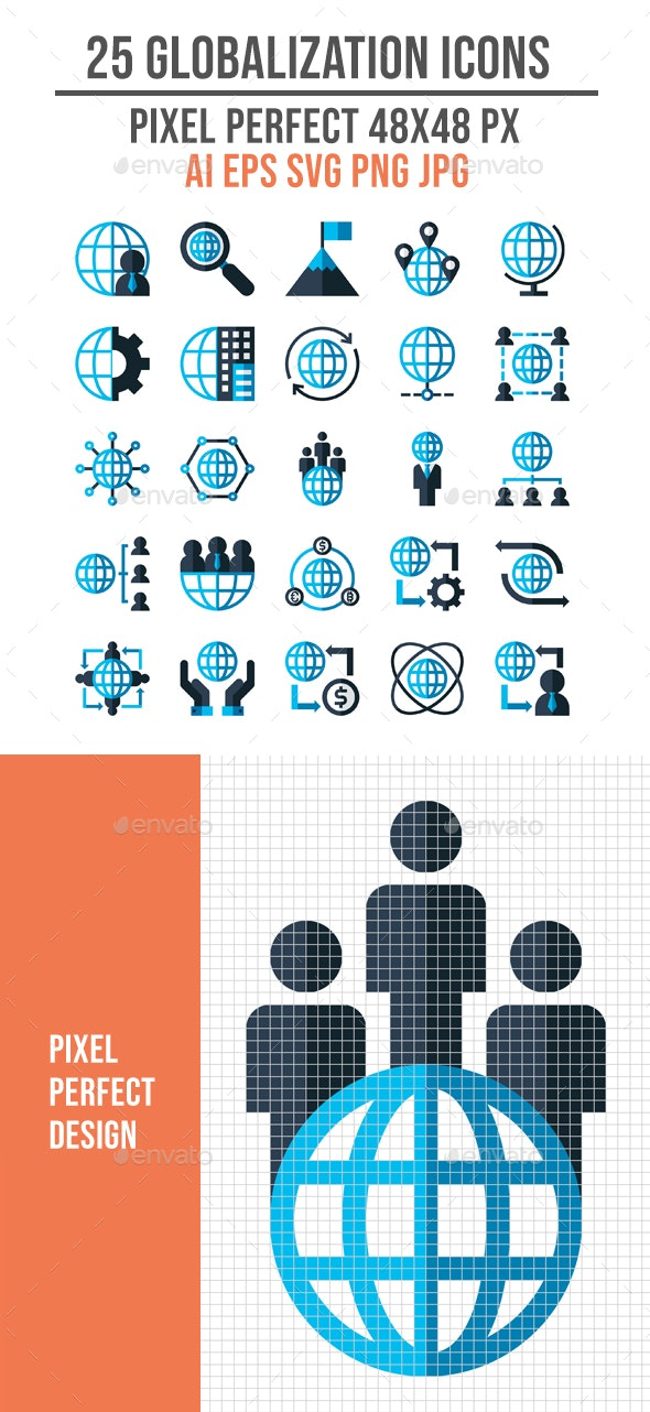 25 Business Globalization Flat Icons - Business Icons