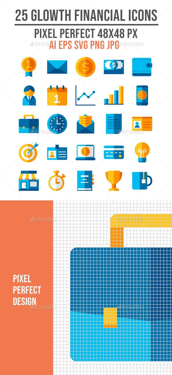 25 Growth Financial Icons - Business Icons