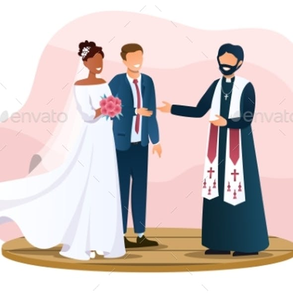 Wedding Couple and the Priest are Standing