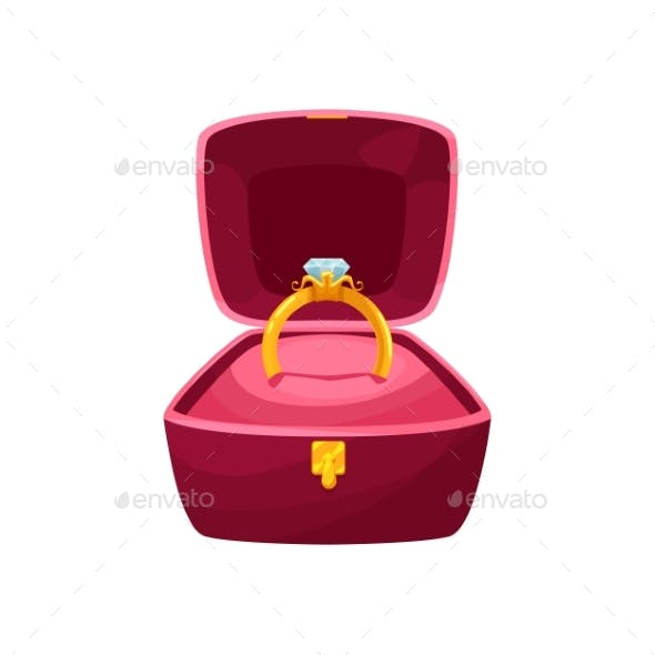 Golden Ring in Box Wedding or Engagement Attribute