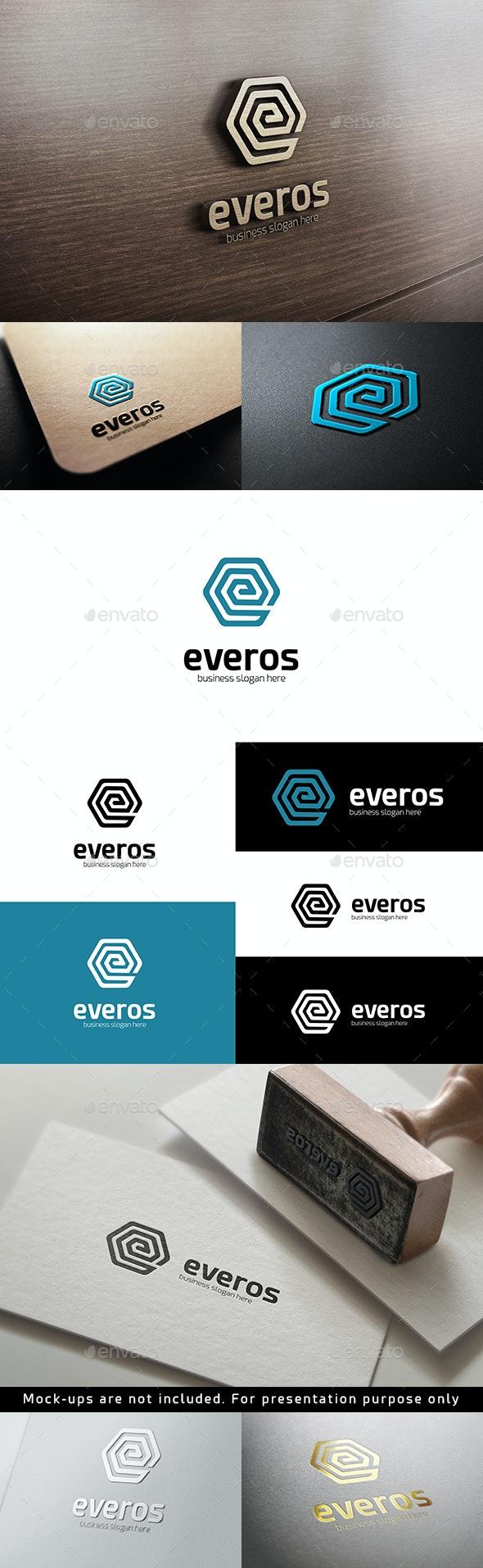 Everos - Hexagonal Abstract E Letter Logo - Symbols Logo Templates