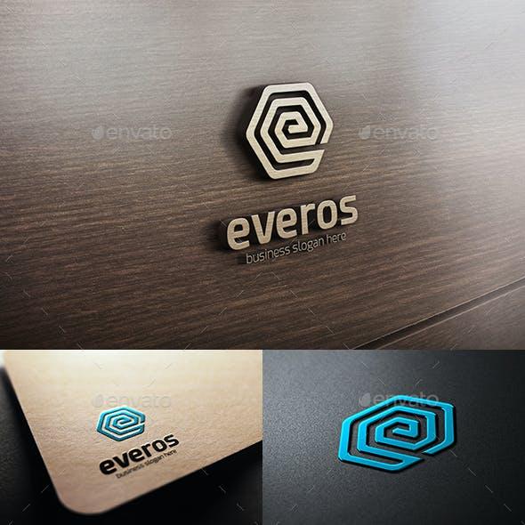 Everos - Hexagonal Abstract E Letter Logo