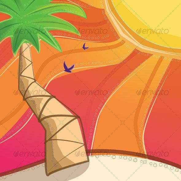 Palm Tree on the Beach - Miscellaneous Print Templates