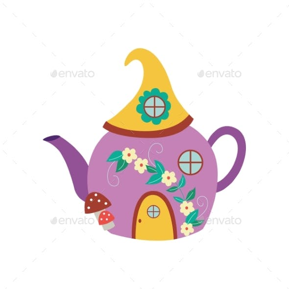 Gnome or Fairy Toy House in Shape of Kettle Flat