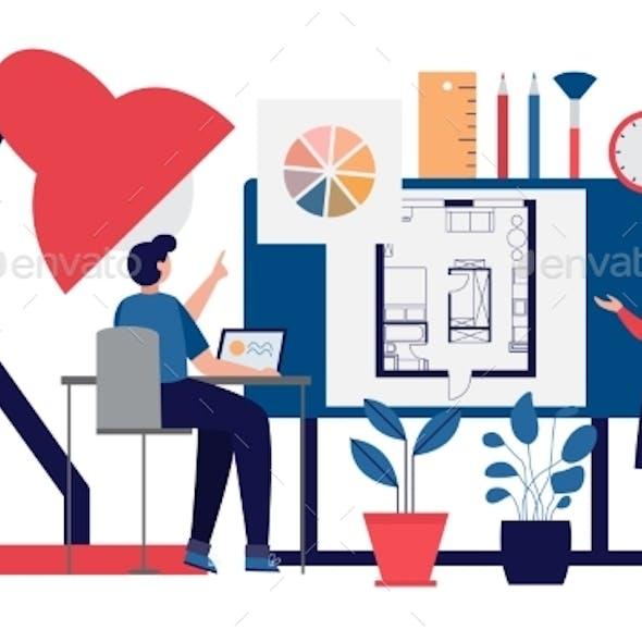 Interior Designers Work on Design Project Flat