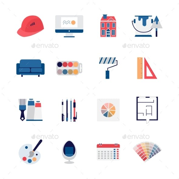 Architecture and Interior Design Icons Set of Flat