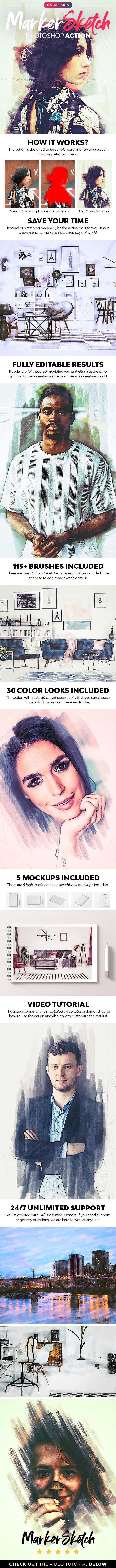 Marker Sketch Photoshop Action - Photo Effects Actions