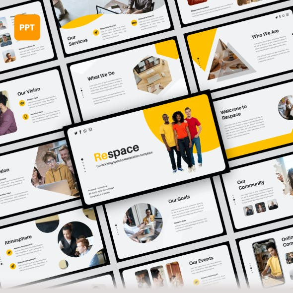 Respace - Coworking Space PowerPoint Presentation Templates