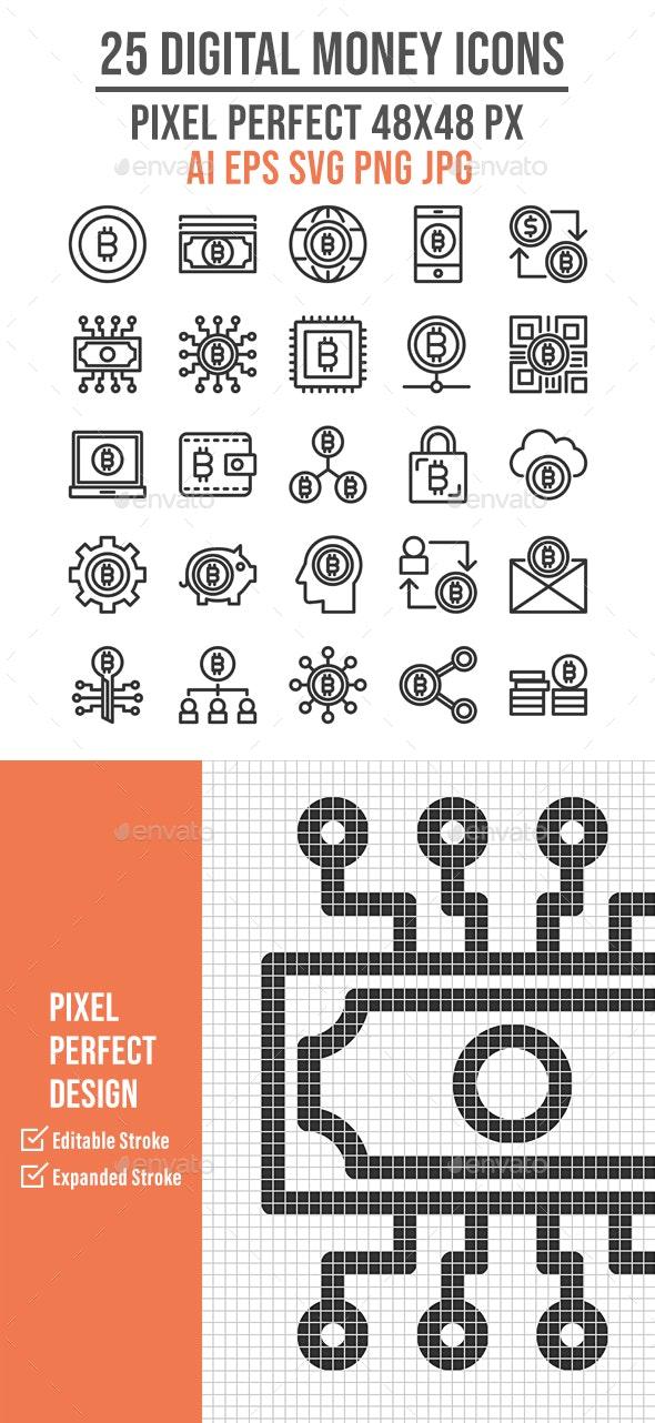 25 Digital Money Outline Icon Set - Technology Icons