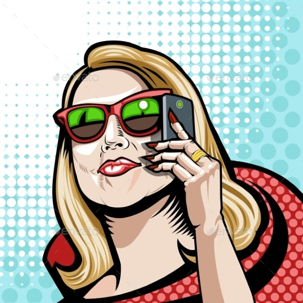 Comic Illustration in Red with a Phone - Miscellaneous Vectors
