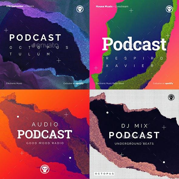 Music Podcast Cover Artwork / Digital Flyer Templates