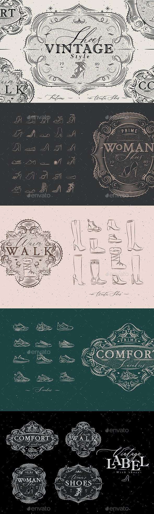 Shoes Vintage Style - Objects Vectors