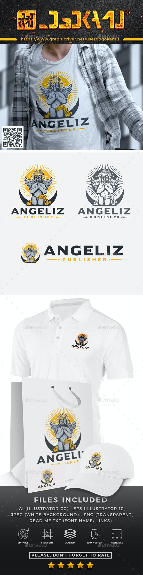 Cupid Angel Praying Logo - Humans Logo Templates