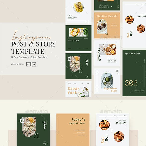 Elegant Restaurant Instagram Post and Story Template