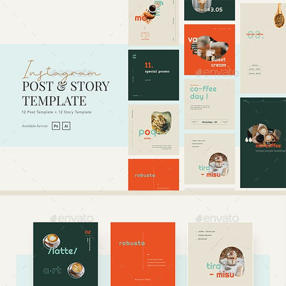 Elegant Coffee Shop Instagram Post and Story Template