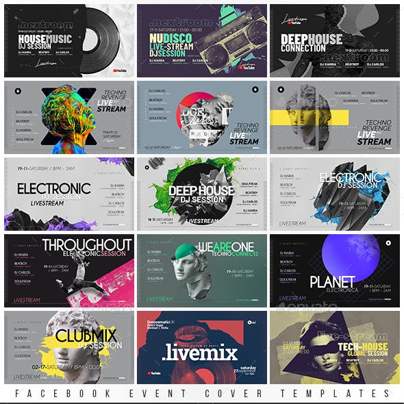Live Stream DJ Session Facebook Event Cover Templates Bundle