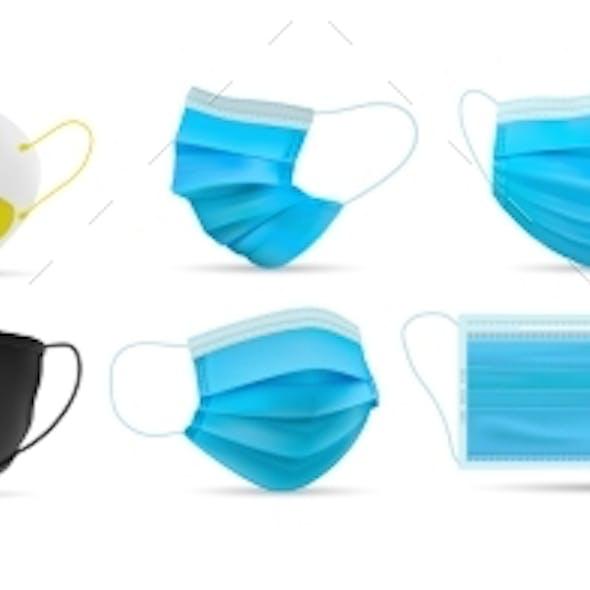Realistic Respiratory Medical Face Masks Set