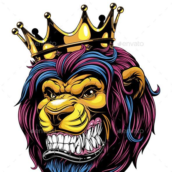 A ferocious lion wearing a crown