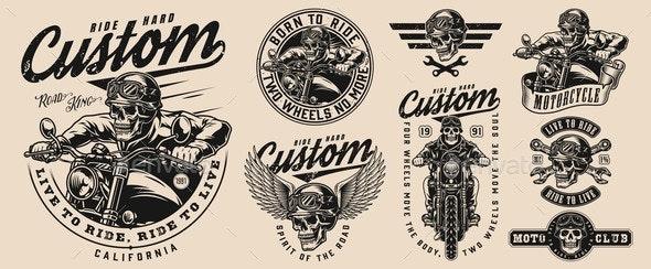 Custom Motorcycle Vintage Monochrome Emblems - Miscellaneous Vectors