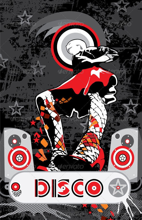 Girl Red Skirt Disco Music - Conceptual Vectors
