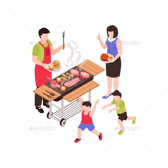 Family Barbecue Isometric Composition