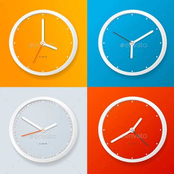 Realistic Detailed 3d Clock Template on a Color Background. Vector