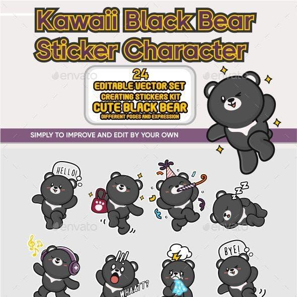 Kawaii Black Bear Sticker Character Editable Vector Set