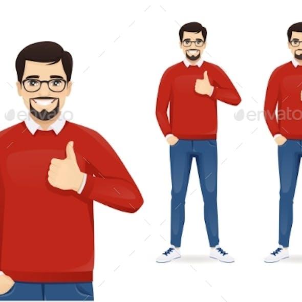 Man Gesturing Thumb Up and Thumb Down