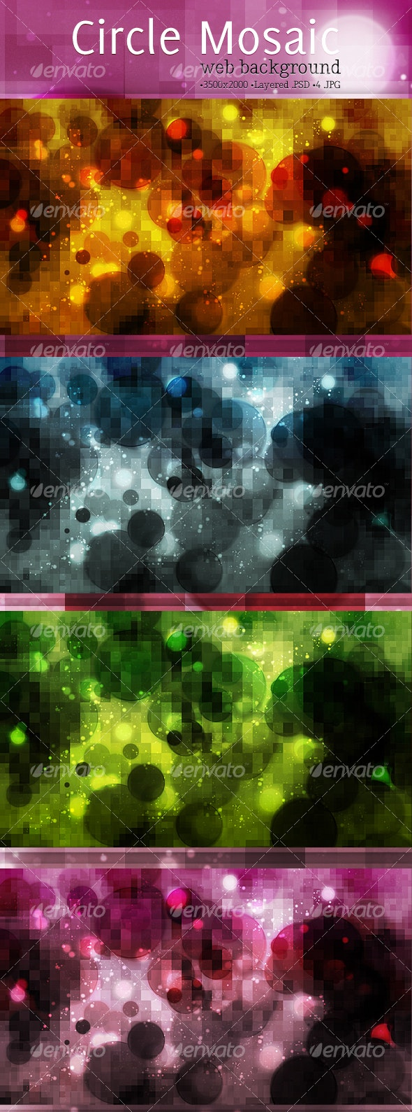 Mosaic Circles Background - Backgrounds Graphics