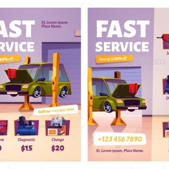 Car Repair Fast Service Cartoon Ad Posters Garage