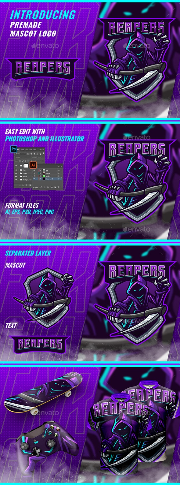 Reaper Scythe - Mascot & Esport Logo - Objects Logo Templates