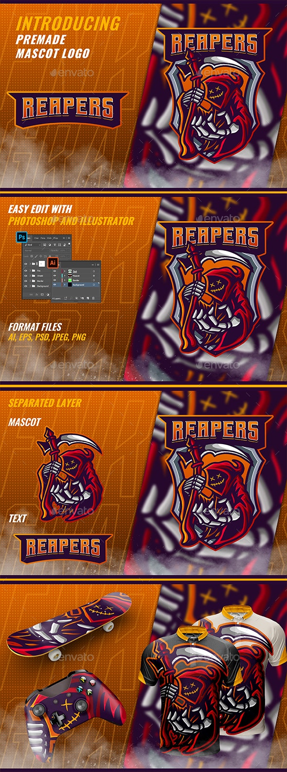 Red Reaper - Mascot & Esport Logo - Objects Logo Templates